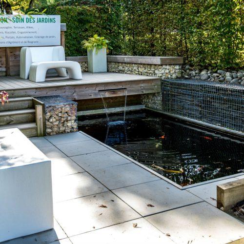 terrasse limoges, création terrasse limoges, fontaine limoges, lame d'eau limoges, rebeyrol créateur de jardins, aménagement de jardins limoges, paysagiste limoges, bassin limoges, basin carpes koï limoges