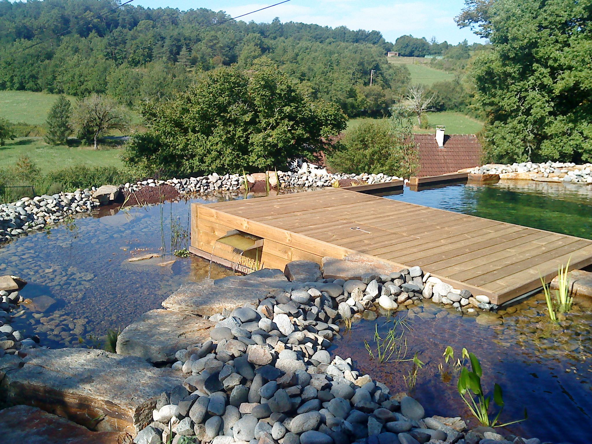 Terrasse bois surpomblant une piscine biologique