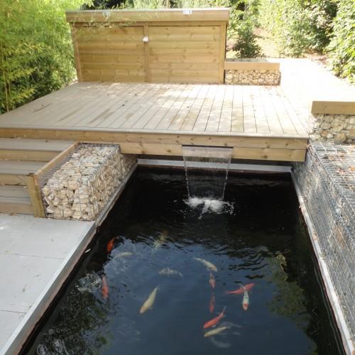 bassin, bassin limoges, bassin carpes koi, bassin carpes koi limoges, terrasse limoges, terrasse bois limoges, rebeyrol