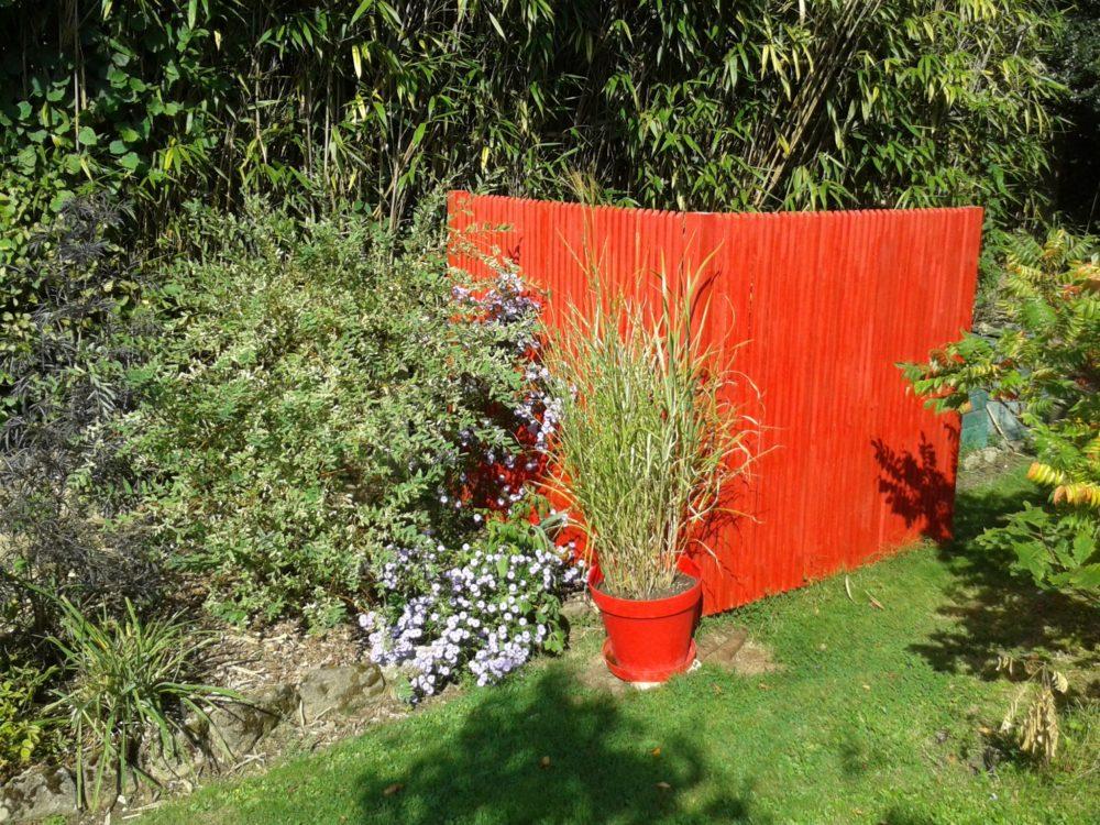Panneau brise-vue bois orange - Claustra en bois