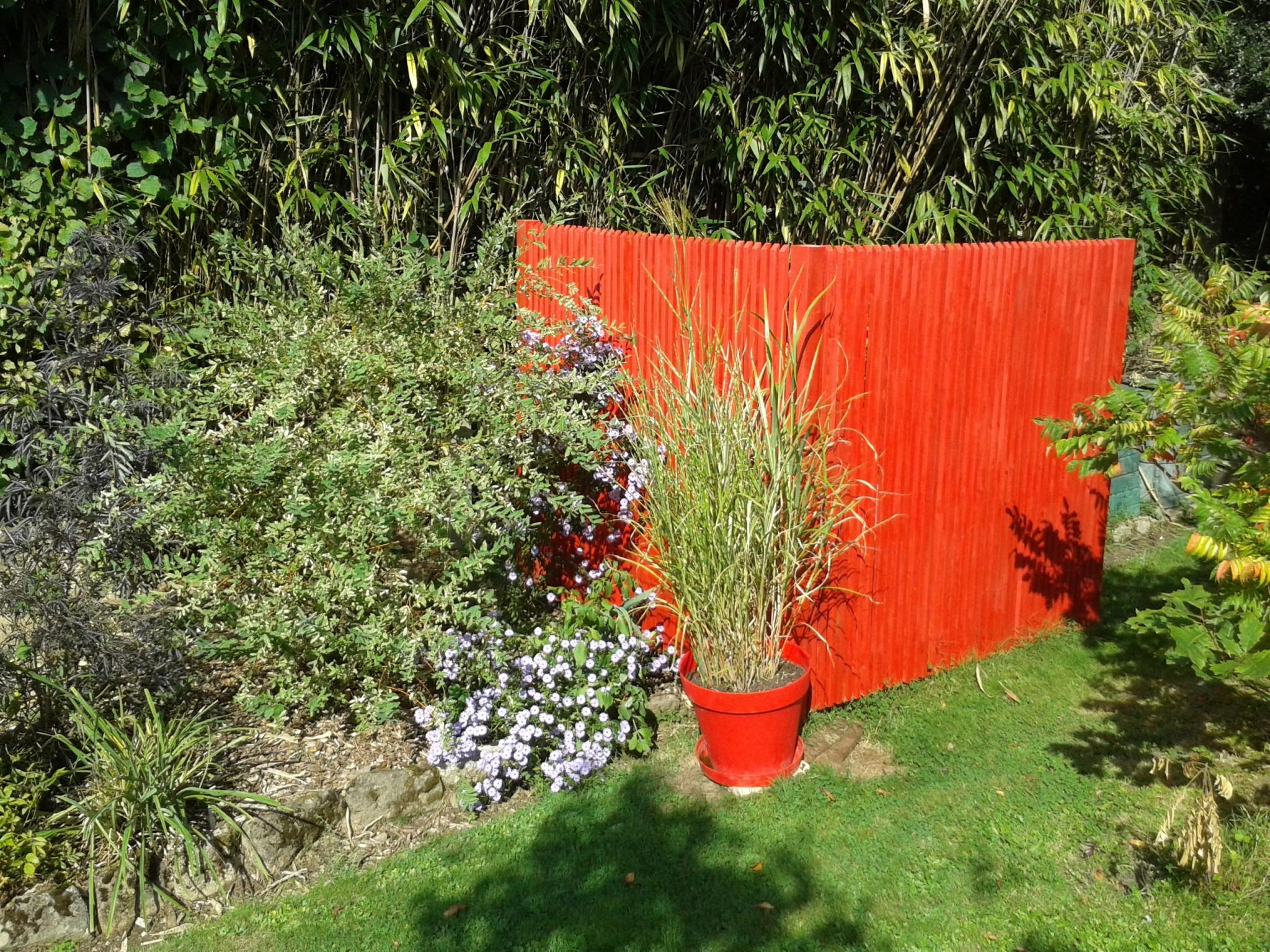 Panneau brise-vue bois orange