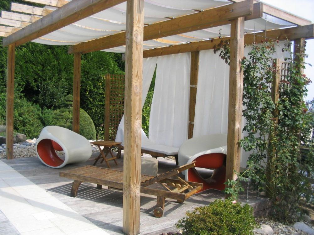 Pergola bois terrasse voile - Pergola en bois et voilage