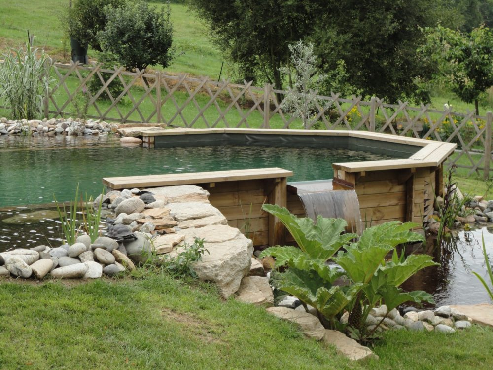 Bassin de baignade naturel semi enterr cascade rebeyrol for Piscine bassin exterieur 92