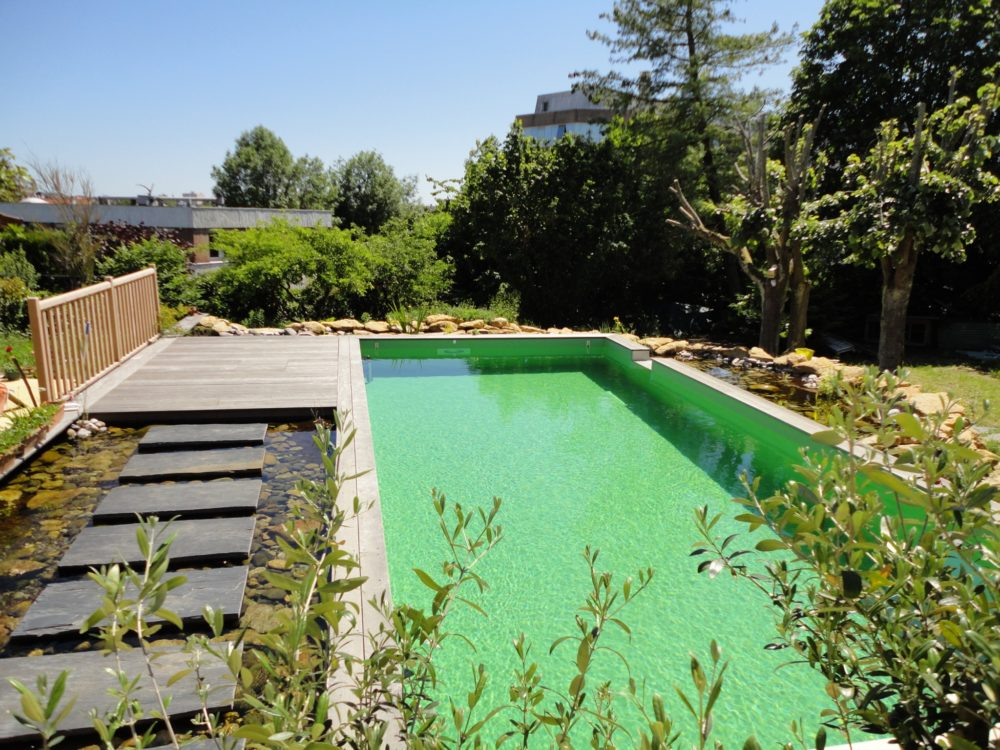 Piscine naturelle passerelle et bassin d agr ment rebeyrol for Bassin naturel piscine