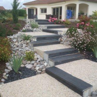 Escalier en béton désactivé et ardoise : Rebeyrol
