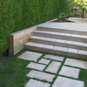 Escalier en bois et pierres : Rebeyrol : aménagement et entretien ...