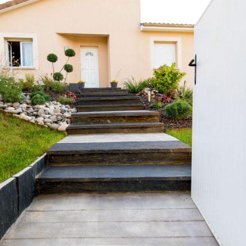 Escalier en béton imprimé et schiste