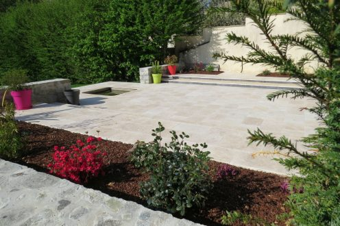 Terrasse Dallage Travertin Rebeyrol Aménagement Et